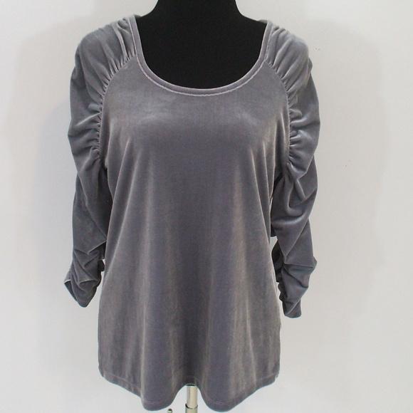 f01423f59ce020 Susan Graver Printed Liquid Knit AsymmetricalHem Tunic Source · Susan  Graver Tops Ruched Sleeve Silver Velvet Blouse Shirt Top
